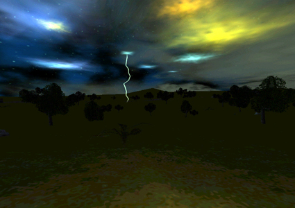 Lightning Storm in Lush Fields