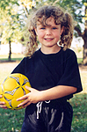 6 years old, in her soccer uniform